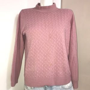 ALIA Rose Pink Quilted Knit Wool Mock Neck Sweater